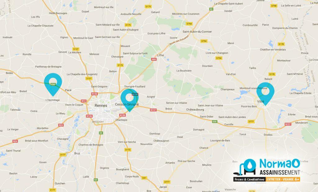 Normao Assainissement aire d'intervention autour de Rennes (35)